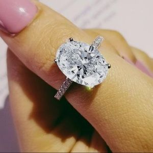 925 Silver Oval White Sapphire Ring